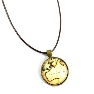 Jewelry - Map glass pendant leather cord necklace (w4)